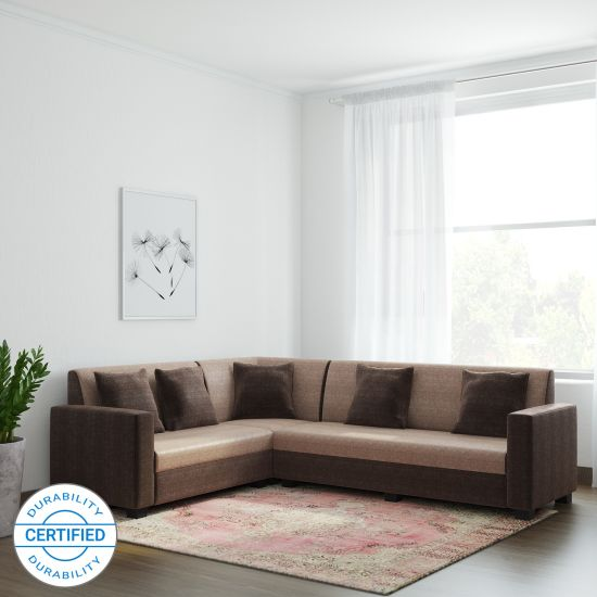 Corner Sofa Set Price In Hyderabad: Corner Sofa Set In Brown Colour On LiveKarts At Rs.20000
